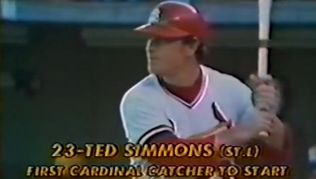 Ted Simmons finished with 172 home runs and 979 RBIs as a member of the Cardinals.
