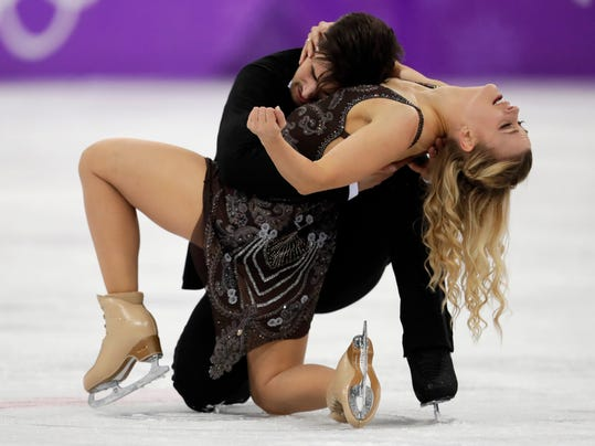 Madison Hubbell and Zachary Donohue of the United States perform during the ice dance, free dance figure skating final in the Gangneung Ice Arena at the 2018 Winter Olympics in Gangneung, South Korea, Tuesday, Feb. 20, 2018. (AP Photo/Julie Jacobson)