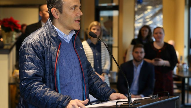 Governor Matt Bevin speaks to the assembled media at Zeggz in Middletown.  Bevin has been in office for a year and spent an hour answering reporters' questions.December 9, 2016