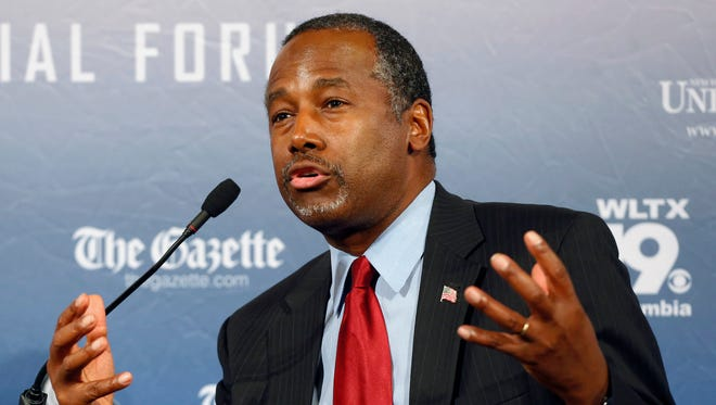 """Responding to a question during an interview broadcast Sunday, Sept. 20, 2015, on NBC's """"Meet the Press,"""" Carson, a devout Christian, said Islam is antithetical to the Constitution and he doesn't believe that a Muslim should be elected president."""