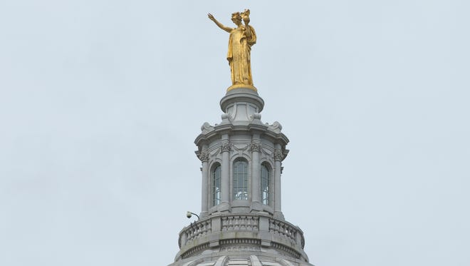 The Wisconsin statue atop of the State Capitol is shown Thursday, July 7, 2016 in Madison, Wis.