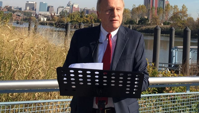 State Sen. Robert Marshall during a press conference on the Wilmington Riverfront on Oct. 22 announces he will run for mayor of Wilmington. He is proposing a new effort to redevelop the downtown area.