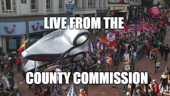To be clear, this is not actually live from the Brevard County Commission, but they're making some pretty big cuts.