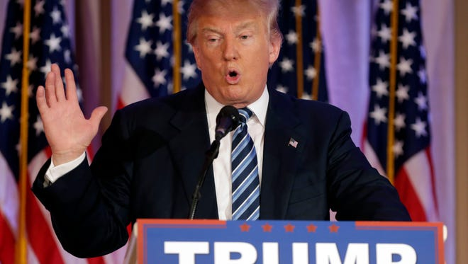 In this March 11, 2016 photo, presumptive Republican presidential nominee Donald Trump speaks at the Mar-A-Lago Club in Palm Beach, Fla. (AP Photo/Lynne Sladky, File)