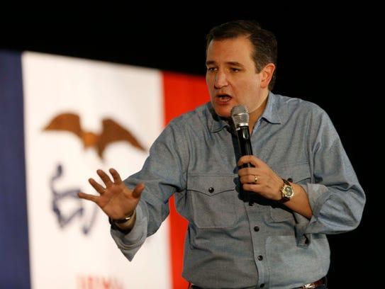 U.S. Sen. Ted Cruz, R-Texas speaks Jan 31, 2016, during