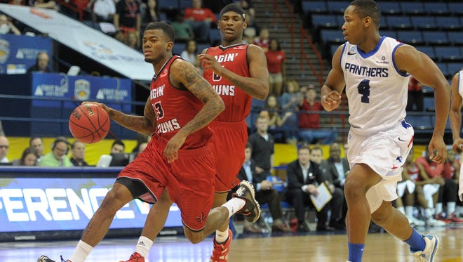Hayward Register (13) drives against Georgia State in the 2015 Sun Belt Conference Tournament at Lakefront Arena in New Orleans,