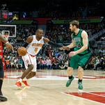 Atlanta Hawks forward Paul Millsap (4) and Boston Celtics forward Jae Crowder (99) will face off in the first round of the Eastern Conference playoffs.