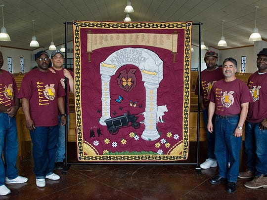 Inmates who volunteer their time to serve dying prisoners through a hospice program at Louisiana State Penitentiary made this quilt.