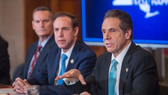 Gov. Andrew Cuomo delivers a briefing on coronavirus at the state Capitol on Friday, March 6, 2020.