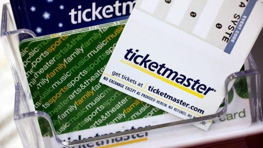 In this file photo, Ticketmaster tickets and gift cards are shown at a box office in San Jose, Calif.