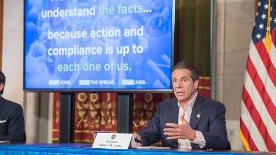 Gov. Andrew Cuomo gave his daily press briefing on COVID-19 on April 26.2020, at the state Capitol.