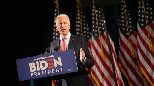 Joe Biden addresses the media on the coronavirus (COVID-19), at the Hotel DuPont, in Wilmington, De.