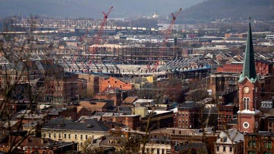 Construction continues on the FC Cincinnati stadium in the West End neighborhood of Cincinnati on Friday, March 27, 2020.