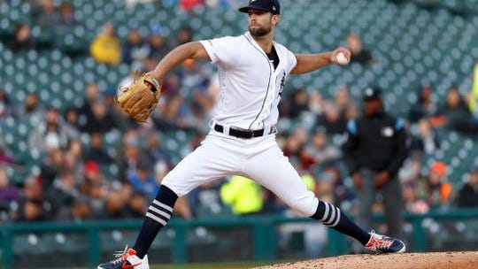 Detroit Tigers pitcher Daniel Norris throws to a Los Angeles Angels batter during the second inning of a baseball game in Detroit, Tuesday, May 7, 2019.