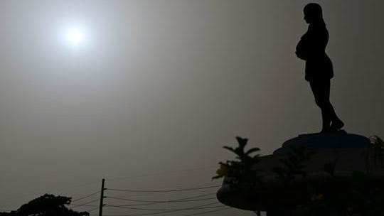 A cloud of Sahara dust hangs in the air in Canovanas, Puerto Rico, Tuesday, June 23, 2020.