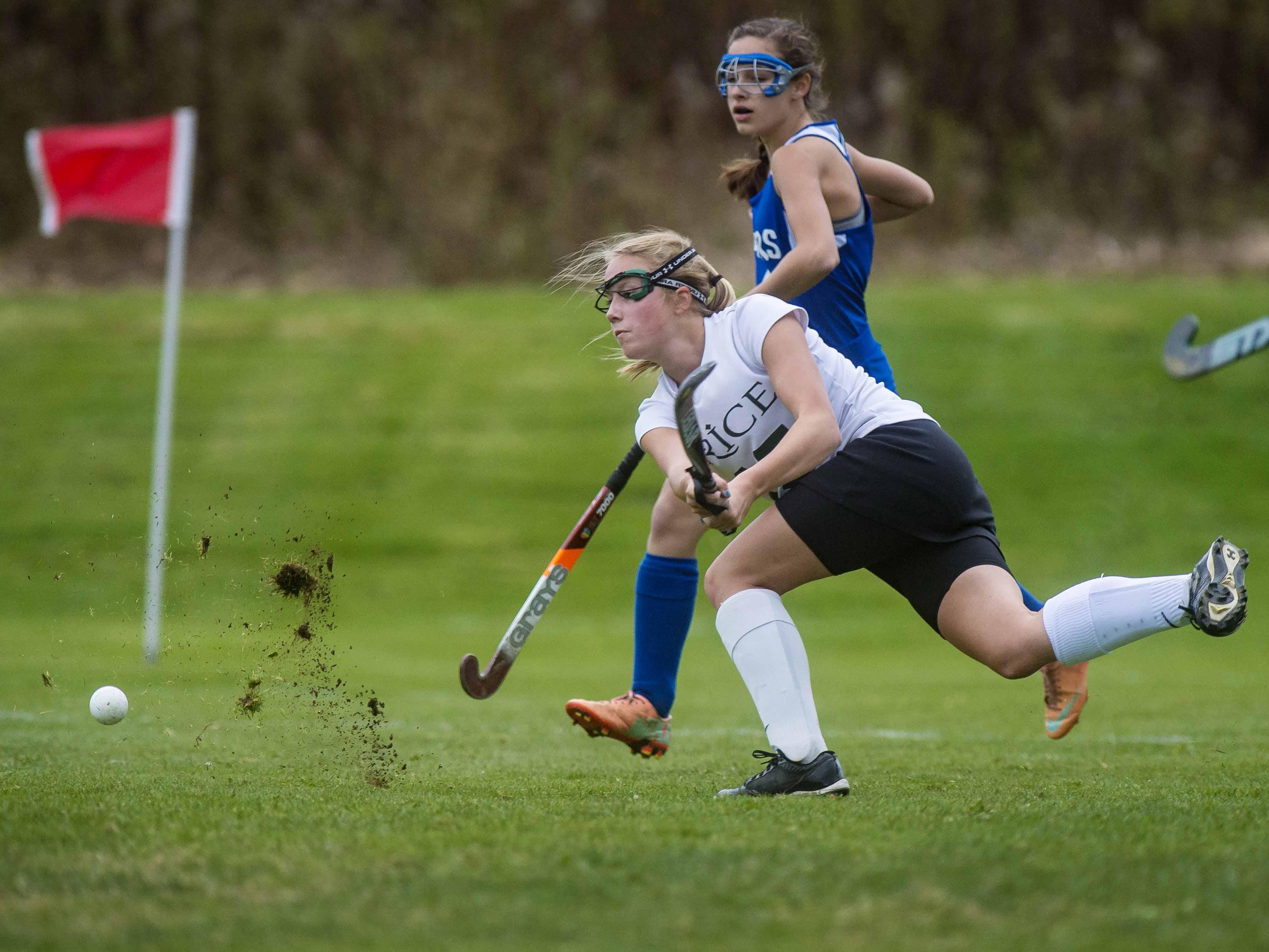 Rice's Sierra Combs fires a shot against Colchester in Essex Junction on Tuesday.