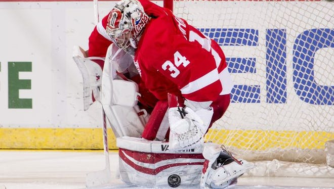 Petr Mrazek makes a save in the second period.