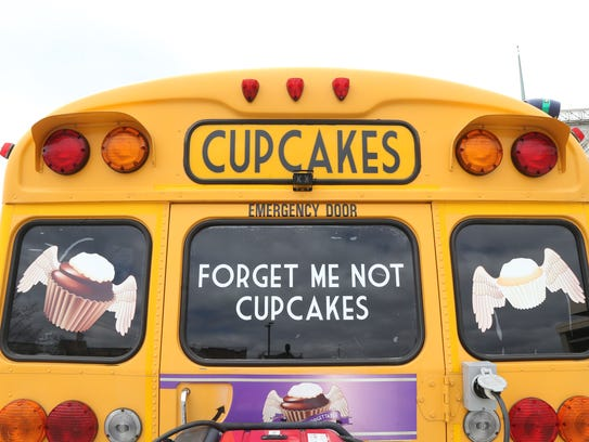 The Forget Me Not Cupcakes bus in the City of Poughkeepsie