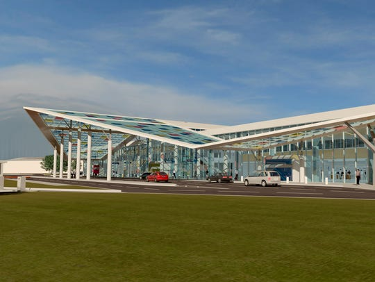 Shown is a rendering of the design chosen by the Lafayette Airport Commission for a new terminal.