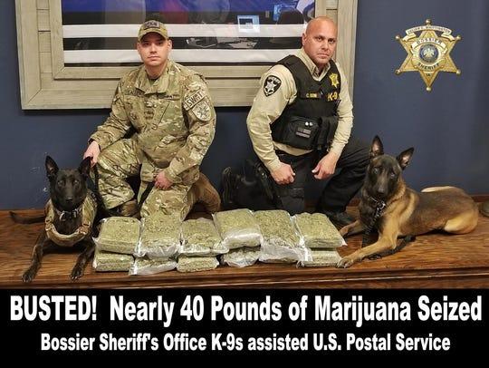 Nearly 40 pounds of marijuana was seized by Bossier