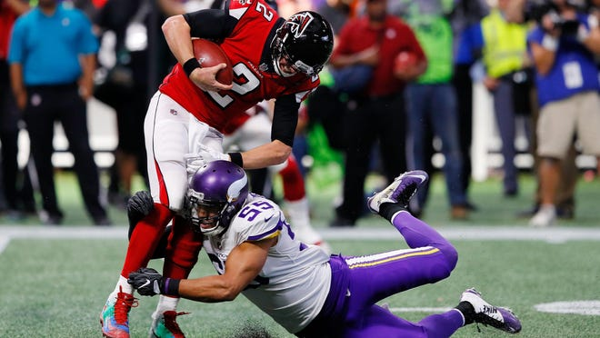 Anthony Barr and the rest of the Minnesota Vikings defense made things difficult for quarterback Matt Ryan of the Atlanta Falcons, who threw for just 173 yards in a 14-9 loss.