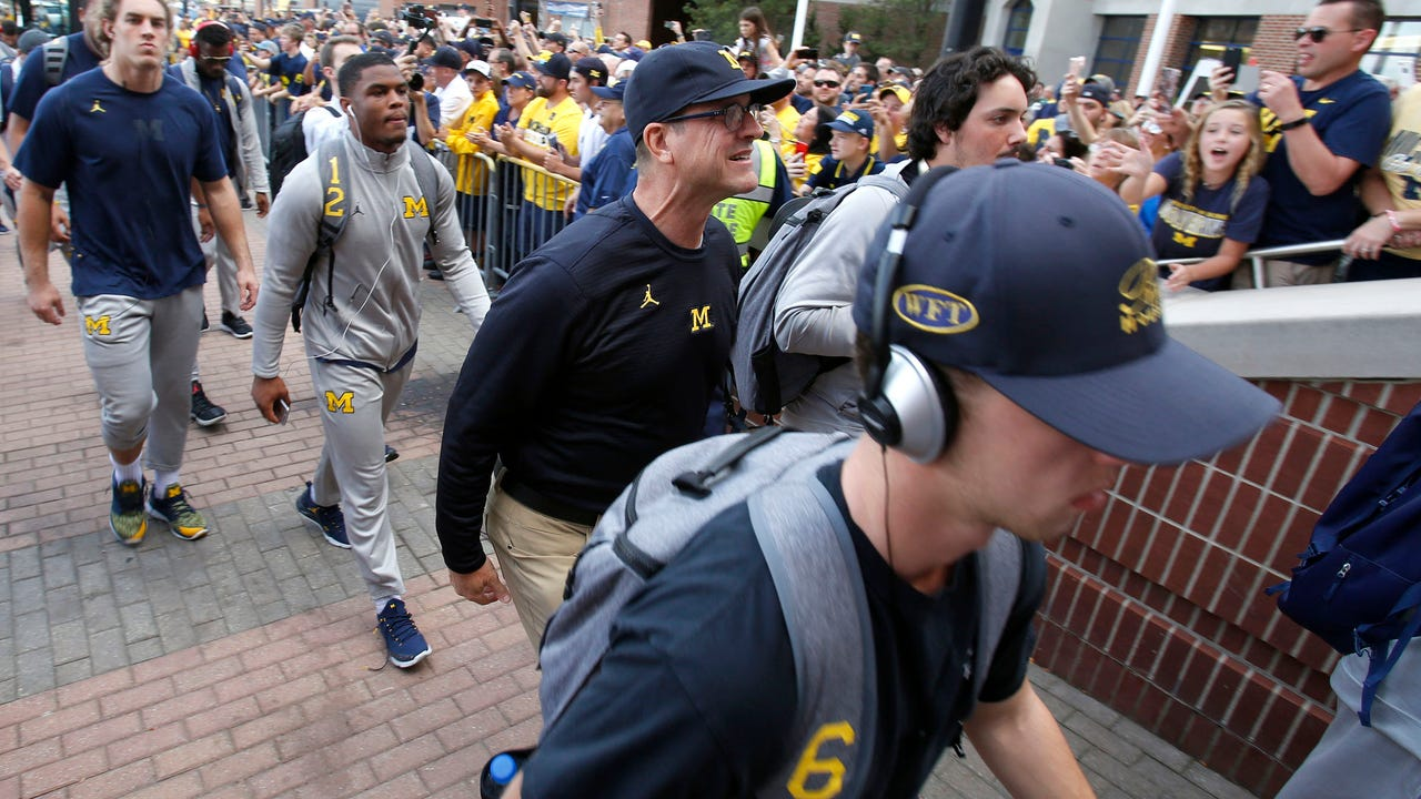 Michigan football coach Jim Harbaugh speaks to the media Oct. 9, 2017, leading up to the Wolverines' game vs. Indiana.