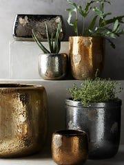 Metallic Crackle Herb Pots – Anthropologie, $10-$68