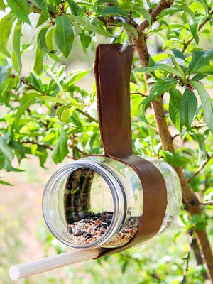 Turn any glass jar or tin can into a simple bird feeder like this one.