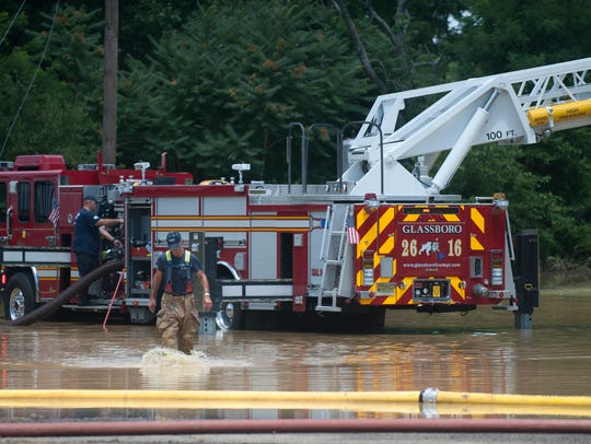 Glassboro Fire Department works on flood clean-up after