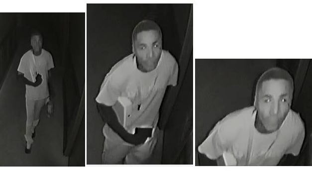 A suspect in the Mount Olive Baptist Church burglary work some type of stocking over his head when he broke into the church.