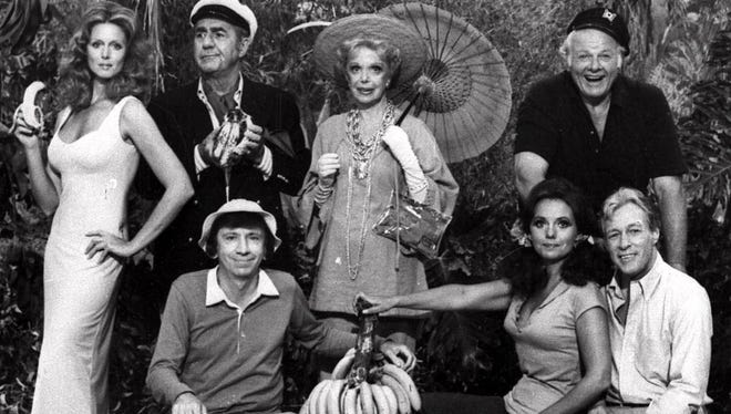 """""""Gilligan's Island"""" premiered Sept. 26, 1964 with (front row) Bob Denver, Dawn Wells, Russell Johnson, (back row) Tina Louise, Jim Backus, Natalie Schafer and Alan Hale Jr."""
