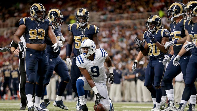 Indianapolis Colts wide receiver Duron Carter (9) gets up off of the turf following a reception in the second quarter of their game Saturday, August 29, 2015, evening at the Edward Jones Dome in St. Louis MO.