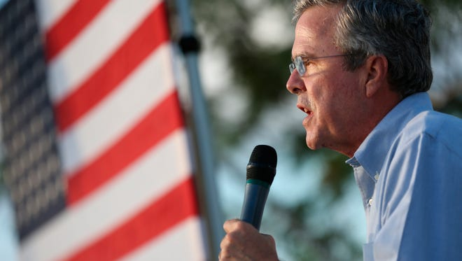 Republican presidential candidate, former Florida Gov. Jeb Bush speaks at an outdoor rally before attending a high school football in Punta Gorda, Fla., Friday, Oct. 30, 2015. (Dorothy Edwards/Naples Daily News via AP)  FORT MYERS OUT; MANDATORY CREDIT