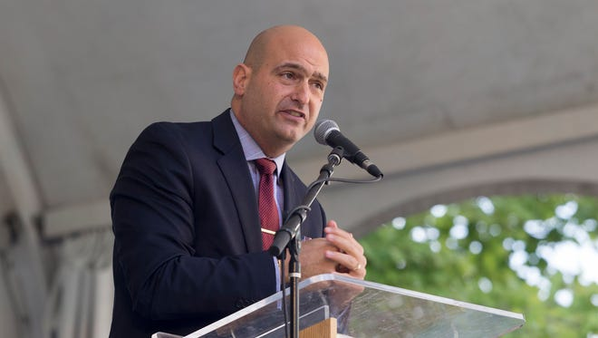 Detroit Public Schools Community District Superintendent, Dr. Nikolai Vitti, speaks to the 71 new City Year Detroit corp members, friends and family during the Opening Day ceremony on Friday, September 8, 2017 in Campus Martius in Detroit.