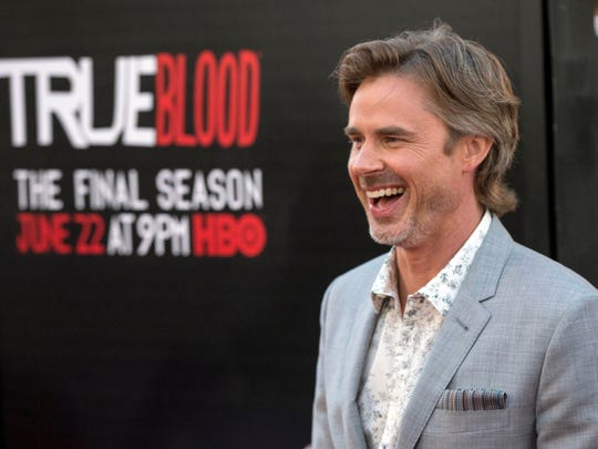 "Sam Trammell arrives at the premiere of ""True Blood."""