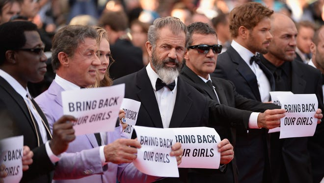 "(L-R) Actor Wesley Snipes, director Sylvester Stallone, actors Mel Gibson, Antonio Banderas and Kellan Lutz attend ""The Expendables 3"" premiere during the 67th Annual Cannes Film Festival on May 18, 2014, in Cannes, France."