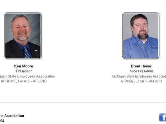 MSEA President Ken Moore (left) and Vice President Brent Heyer appear side by side on the MSEA website, but the two union leaders are anything but close.