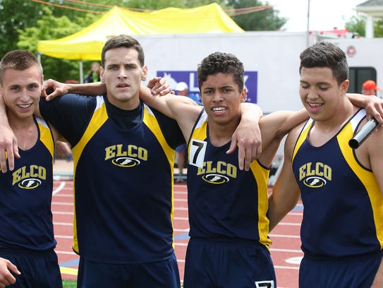 Elco's, from left, Blaine Troutman, Colton Lawrence,