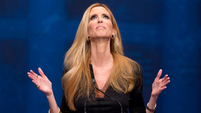 In this Feb. 10, 2012, file photo, Ann Coulter gestures while speaking at the Conservative Political Action Conference in Washington.