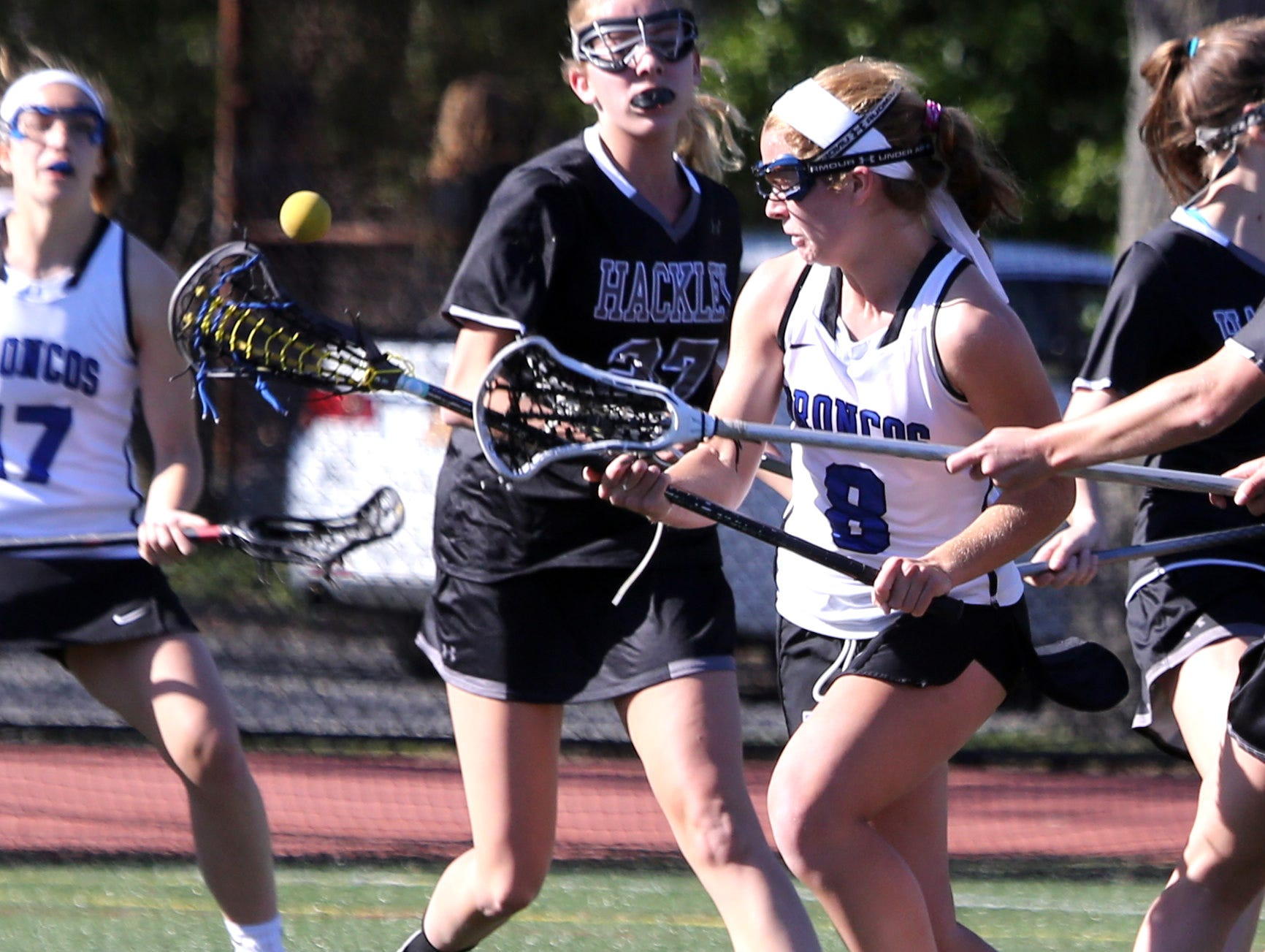 Bronxville defeated Hackley 15-11 in a varsity girls lacrosse game at Bronxville High School April 20, 2016.