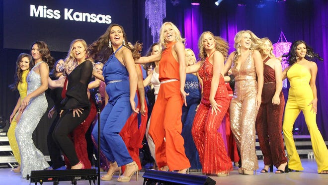 The 2019 Miss Kansas competitors perform a group number on the first night of competition. The 2020 competition has been postponed until Memorial Day 2021 so for the first time in 65 years, there will be no Miss Kansas competition in a calendar year.
