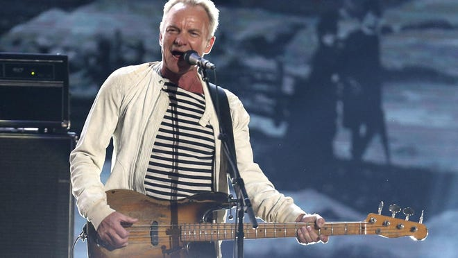 "This Jan. 28, 2018 file photo shows Sting performing at the 60th annual Grammy Awards in New York. Sting is heading to Las Vegas to launch a residency next year. Sixteen performances of ""Sting: My Songs"" will take place at The Colosseum at Caesars Palace, beginning May 22, 2020. Shows are also planned for June, August and September."