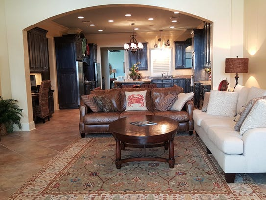 There is plenty of living space for entertaining guests.