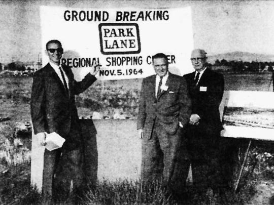 In 1964: It started as an open-air mall and was the city's top shopping spot for many years. Here are original Park Lane owners Sonner Greenspan (left), Ben Edwards (center) and A.J. Flagg.