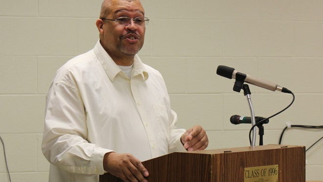 James Jones, an associate professor of history at Prairie View A & M University in Texas, facilitates a discussion about race at Mansfield Senior High School on Tuesday, March 14, 2017. Jones, a Mansfield native, planned the discussions with the Mansfield branch of the NAACP, including branch president Geron Tate.
