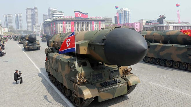 This April 15, 2017 picture released from North Korea's official Korean Central News Agency (KCNA) on April 16, 2017 shows Korean People's ballistic missiles being displayed through Kim Il-Sung square during a military parade in Pyongyang marking the 105th anniversary of the birth of late North Korean leader Kim Il-Sung.