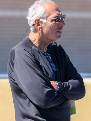 Gerry DiNardo, who was the offensive coach at the University of Colorado (1984-90) when UWF head football coach Pete Shinnick played there, looks on during spring practice on Pen Air Field at the University of West Florida on Saturday, March 31, 2018. DiNardo went on to be the head coach at Vanderbilt (1991-94), LSU (1995-99) and Indiana (2002-04). He also was the head coach for the XFL's Birmingham Thunderbolts during the one season they operated (2001).