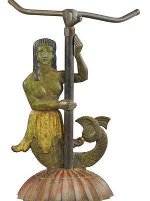 Underground sprinkler systems have replaced the need for a sprinkler attached to a hose in many yards, but the antique figural mermaid sprinkler still is a popular but scarce collectible often considered folk art. It took $2,040 to buy this painted sprinkler at an auction.