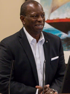 Keith Hoskins, western district general manager for Gulf Power, speaks during a press conference to announce a partnership between the Florida Sports Hall of Fame and Andrews Institue at the Andrews Performance & Research Pavilion in Gulf Breeze on Tuesday, May 15, 2018. This year's Hall of Fame induction ceremony, featuring local sports icons Justin Gatlin, Roy Jones, Jr., Michelle Snow, and others, will be held on November 7 at the National Naval Aviation Museum on NAS Pensacola.