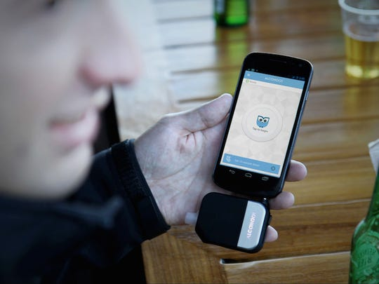 Alcohoot is a breathalyzer that attaches to your smartphone